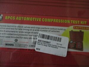 8 Piece Automotive Compression Test Gauge Kit By White Dog Sealed In Case