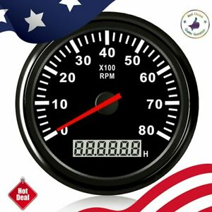 85mm 8000rpm Tachometer Tacho Gauge With Lcd Hour Meter For Car Marine Boat 12v