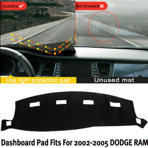 Black Dash Cover Mat For Dodge Ram1500 2500 3500 2002 2005 No slip Dashboard Pad
