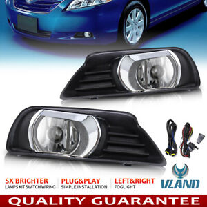 For 2007 2009 Toyota Camry Fog Lights Clear Front Bumper Lamp Kit Switch Wiring