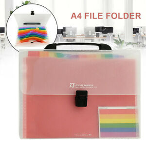 13 Pockets A4 File Organizer Document Holder Expanding Accordion Folders Tools