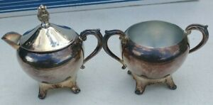 Vintage 1883 F B Rogers Silver Co Silverplate Footed Sugar Creamer Set