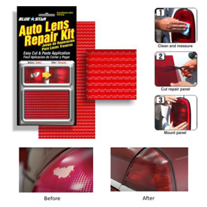 Red Auto Lens Tail Light Repair Kit Diy Fix Broken Car Grid Tail Lens Glass Usa