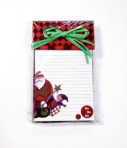 Decorative Christmas Note Pad 100 Sheets W Bow Santa Clause Elf Ho Ho Ho 6x4