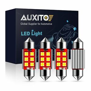 Auxito 6000k Led License Plate Tag Light Bulbs For 36mm 6418 6411 Festoon 4pcs