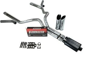 04 08 Dodge Ram 1500 3 Dual Exhaust Kit Flowmaster Super 44 Slash Corner Exit