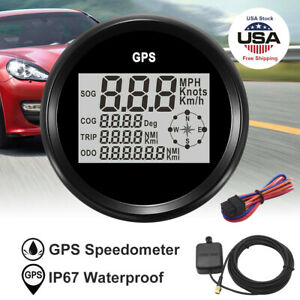85mm Gps Digital Lcd Speedometer Odometer Gauge Black For Car Truck Boat Marine