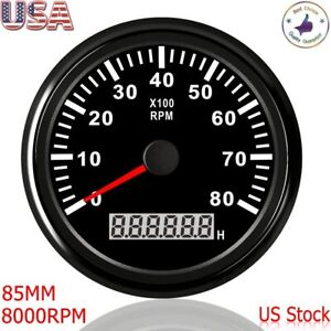 Universal 85mm Car Marine Boat Tachometer 0 8000rpm Gauge With Led Hour Meter
