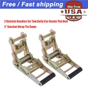 2 Ratchet W Handle For Tow Dolly Car Hauler Flat Bed 2 Ratchet Strap Tie Down