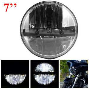 Cree 7 Round Black Led Headlight Hi lo Beam For Jeep Wrangler Jk Tj Motorcycle