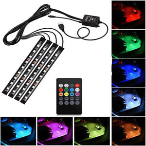4pcs Car Rgb Usb 36 Led Light Strip Interior Atmosphere Neon Lamp Remote Control