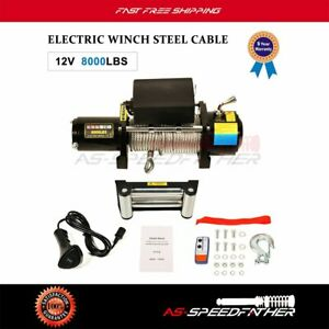 4wd Offroad Electric Winch Recovery Steel Cable Rope 8000lbs 27m Remote