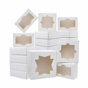 20 Pcs 3 sizes Cardboard Bakery Cookie Boxes Set With Window Auto popup For C