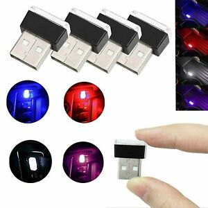 Universal Mini Flexible Usb Led Car Interior Light Neon Tube Ambient Lamp 5v Red