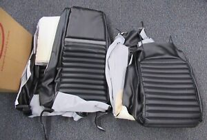 1969 Mustang Mach 1 New Tmi Black W Gray Stripe Deluxe Front Seat Upholstery