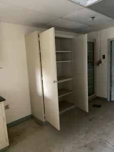 Tall Metal Lab Storage Cabinets With Swinging Doors