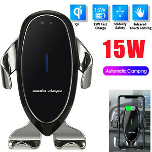 Automatic Clamping 15w Qi Wireless Car Charger Mount Air Vent Cell Phone Holder