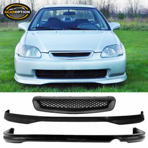 Fits 96 98 Honda Civic 2 4dr Type R Pp Front Pu Rear Bumper Lip Abs Hood Grill