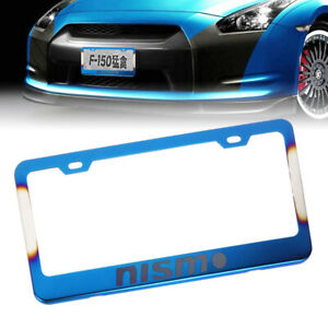 X1 Nismo Burnt Blue Stainless Steel License Plate Frame W Screw Caps For Nissan