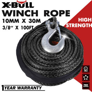 X bull 3 8 x100ft 23800lbs Synthetic Winch Rope Line Black Recovery Cable 4wd