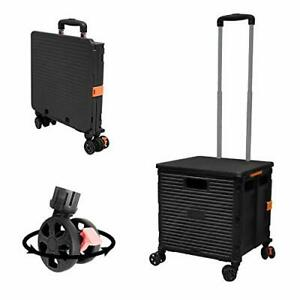 Foldable Utility Cart Folding Portable Rolling Crate Handcart With Durable He