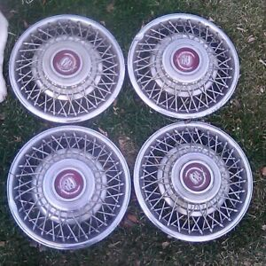 Set Of 4 1981 1985 Cadillac Eldorado Seville 15 Wire Spoke Hubcaps Wheel Covers