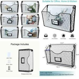 Pag 6 Pockets Hanging File Holder Wall Mount Mail Organizer Metal Chicken Wire M