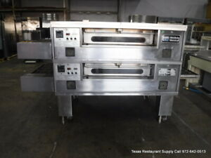 Middleby Marshall Ps57og Double Stack Gas Conveyor Pizza Oven On Casters