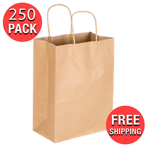 250 case 8 X 4 5 X 10 5 8 Natural Kraft Paper Shopping Grocery Bag Handle