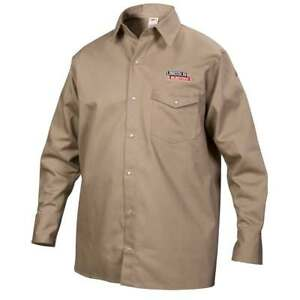 Lincoln Electric K3382 l Khaki Fr Welding Work Shirt Large
