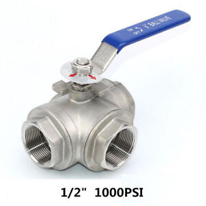 1 2 3 Way Ball Valve Three T Port Npt Stainless Steel 316 1000psi Water Oil Gas