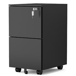 2 Drawer Mobile File Cabinet With Lock Metal Filing Cabinet For Legal letter