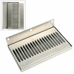 Stainless Steel Draft Beer Wall Mount Drip Tray No Drain 10 w X 6 h X 3 4 d