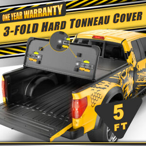 For 05 18 Nissan Frontier 5ft Short Bed Hard Solid Tonneau Cover Tri Fold Led
