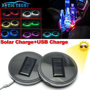 Solar Power Colorful Led Cup Holder Pad For Auto Interior Atmosphere Lights Lamp