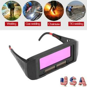 Solar Powered Auto darkening Welding Helmet Eyes Goggle Glasses Welder W Strap