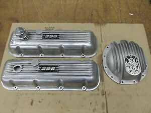 Rare Vintage Bbc Chevy 396 Finned Valve Covers 12 Bolt Rear End Cover Baldwin