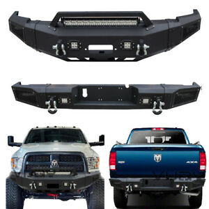 Vijay New Black Front And Rear Bumper With D Rings For 10 18 Dodge Ram 2500 3500