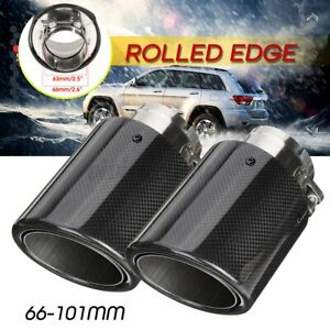 Pair Inlet 2 5 Outlet 4 Carbon Fiber Car Exhaust Pipe Tail Muffler End Tip