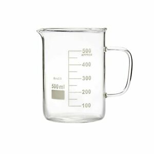 Microyn Glass Beaker With Handle Beaker Mug With Pouring Spout 500ml 16 9oz