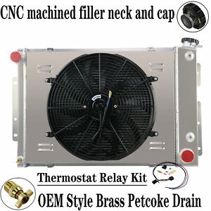 3 Row Radiator Shroud Fan For 1967 69 Chevy Camaro Pontiac Firebird V8 23 core