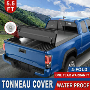 Tonneau Cover Truck Bed 5 5ft 4 Fold For 14 21 Toyota Tundra W o Deckrail System