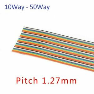 10way 50way Dupont Wire Flat Flexible Rainbow Ribbon Pcb Cable Pitch 1 27mm