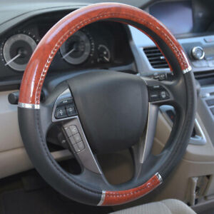 Wood Grain Steering Wheel Cover For Auto Car Suv Grip Black Leather Universal