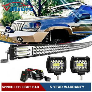 50 5d Curved Led Light Bar Combo 4 Cube Pods For 99 04 Jeep Grand Cherokee Wj