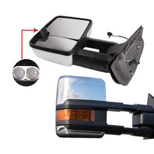 Pair Chrome View Side Power Heated Towing Mirrors For 07 14 Chevy Gmc Led Signal
