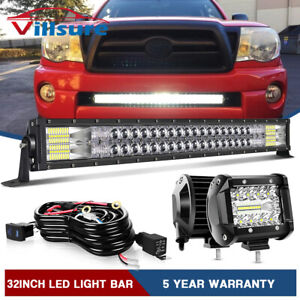 For 05 15 Toyota Tacoma Bumper Hidden Grille 32 In Led Light Bar 4 Pods Wire