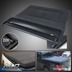 6 5ft Bed Truck Black Soft Four fold Tonneau Cover For 09 14 Ford F 150 Extra