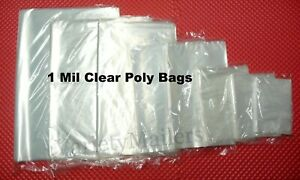 100 Small To Large Clear 1 Mil Poly Bags 9 Sizes To Choose From