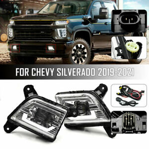 For 2019 2020 2021 Chevrolet Silverado Led Fog Light Lamp With Switch Wiring Kit
